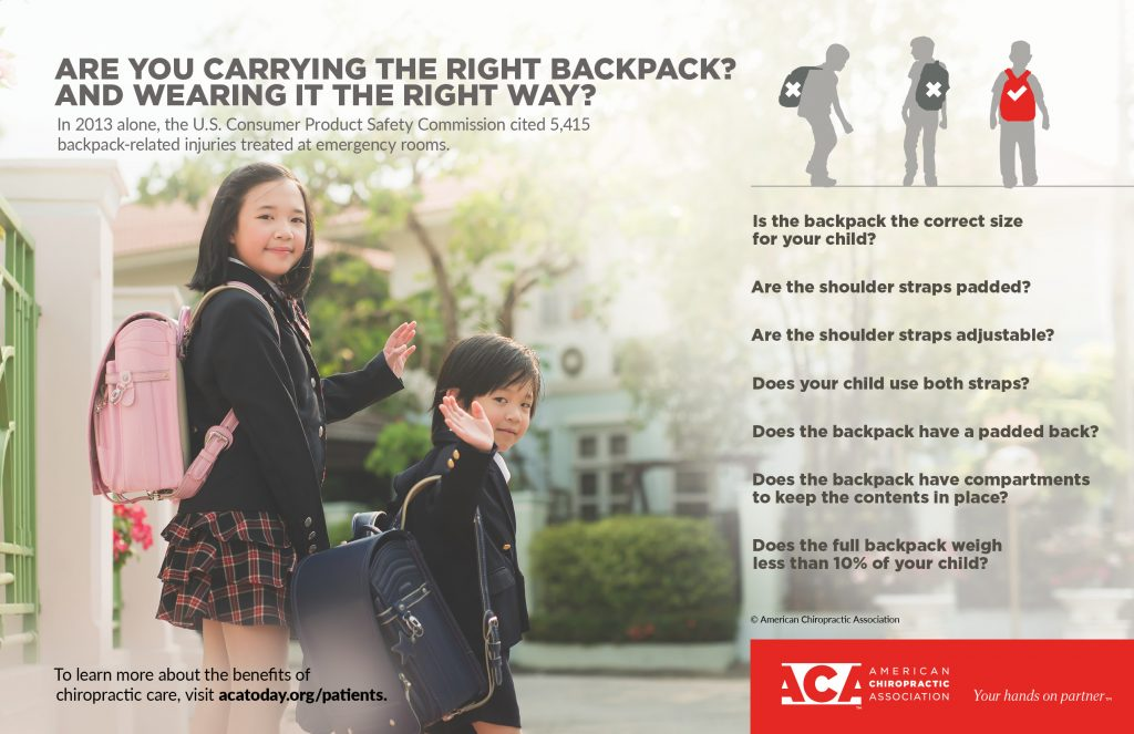 wearing a backpack incorreclty can cause major problems